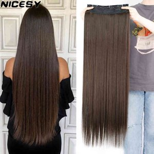 NICY Long Straight Hairstyl Synthetic 5 Clip In Hair Extension Heat Ristant Hairpiec Brown Black Piece For Women