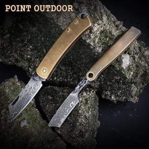 Handmade 90 Floors Real Damascus Razor Blade Brass Handle Outdoor Survival Pocket Key Knife Portable Mini Folding Fruit Knives