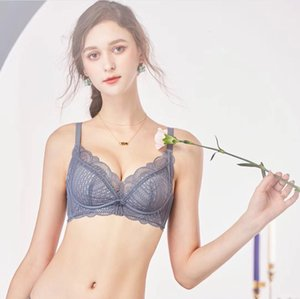920 Sexy Hollow Out Embroidery Lace Medium Thick Cup Seamless Gathered Comfortable Three Row Breastset Without Steel Ring