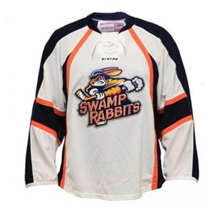 Cheap Real 668 rare Full embroidery ECHL 2016-17 custom Greenville Swamp Rabbits Hockey Jersey or custom any name or number Jersey