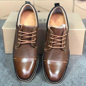 2020 Mens Calfskin 드레스 신발 디자이너 신발 빈티지 패션 스타일 브로우스 구두 부드러운 웨딩 순회 신발 상자 최고 품질 US7-13