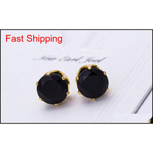 Stud Earrings Wholesale Fashion Round Favorite Design 18 K Gold Plated Studded Candy Crystals Cz Diamond qylZwI dh_seller2010