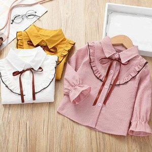 Shirts Spring Autumn Cotton Baby Toddler Girls Blouse Striped Bow Children Long Sleeve Clothes School Girl White Shirt Kids Tops JW5187
