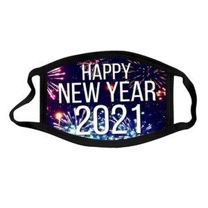 Mask 2021 Designer Year Happy New Chrismas Face Party Masks Washable Reuseable Face Mask Digital Printed Protection Cotton Masks