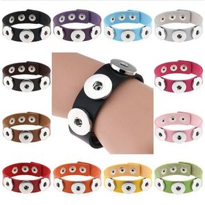Snap Button Bracelet Bangles 14 color High Quality PU leather Bracelets For Women 18mm Jewelry Christmas Decorations Gift