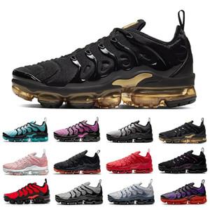 New Knit TN Plus Mens 러닝 신발 네온 트리플 레드 블랙 그레이 톤 남성 여성 트레이너 스포츠 스 니 커 즈 Chaussures 36-47