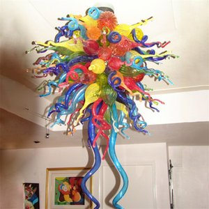 Hand Blow Glass Chandelier with LED Light Source Multi Color Tiffany Hanging Ceiling Lamp 32 by 40 Inch Modern Art Deco Customized Lights