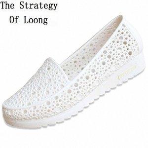Mujeres de verano anti deslizamiento Corte plano de zapatos de arena Lady Cuttout Cerrado de punta de punta en los zapatos de playa Jelly Sandals Mocasines 20180906 Z4SO #