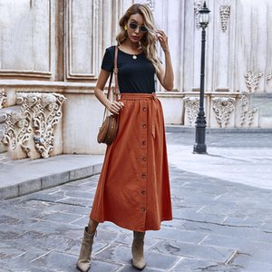 2021 Autumn Winter Vintage Midi Skirt Cotton Single Breasted Solid Color High Waist Skirts for Women New Fa4l