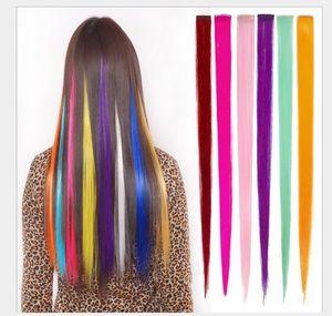 Extensão de cabelo da moda para mulheres longas clipe sintético em extensões retas de festa de pentear destaca peças de cabelo punk
