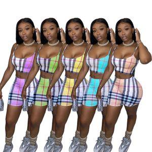 Summer Women Two Pieces Sets 2021 Designers Tracksuits Sling Suit Irregular Printing Slim Pants