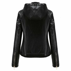 2021 New Faux Leather Pu Women Autumn Winter Long Sleeve Hoodies Plus Veet Warm Coat Female Motorcycle Jacket Black Outerwear Ra3a