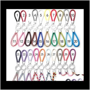 71 Colors Pu Leather Braided Woven Keychain Rope Rings Fit Diy Circle Pendant Key Chains Holder Car Keyrings Jewelry Accessories Xdnwd V2Dqw
