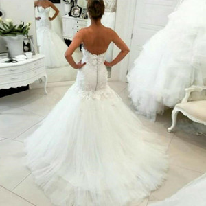 Flower Applique Lace Wedding Dresses Mermaid Strapless Beaded 2021 Spring Bridal Gowns Long Trail Custom Made Plus Size