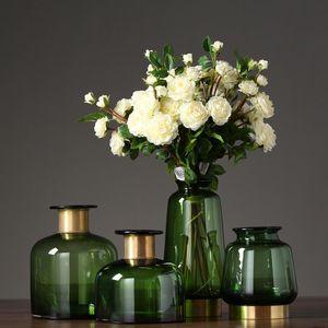 Vases Cuivre Bague Fleur Tabletop Artisanat Accueil Décoration Simple Verre 2021 Moderne High-Deal Épaissi Phnom Penh Vert Handmade