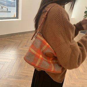 خمر منقوشة المرأة الرغيف الفرنسية حقيبة أزياء بلون مغاير السيدات الصغيرة الأفاق حقائب الكتف بسيطة أنثى حقائب كبيرة TOTE C0312