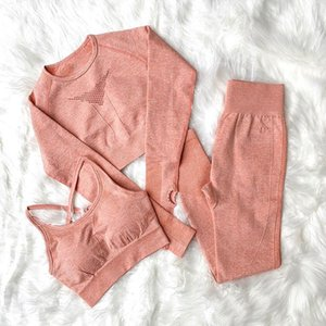sportswear women3pcs Sets Women Yoga Sets Seamless Long Sleeve Crop Top and Sexy Sports Bra and High Waisted Sports Leggings Workout Sets