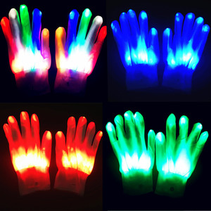 2pcs pack LED Gloves Neon Guantes Glowing Halloween Party Light Props Luminous Flashing Skull Gloves Stage Costume Christmas Supplies