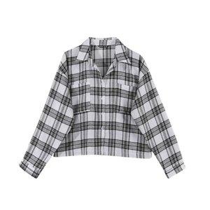 JVCAKE 2021 Femenino Blusa de otoño Nuevo Camisa de manga larga Tela Escocesa de manga larga Casual Moda All-Match Blusa Mujer Ropa Blusas