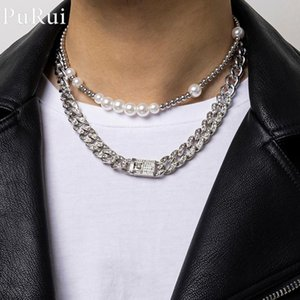 Pendant Necklaces Luxury Iced Out Rhinestone Miami Cuban Chain Necklace 2Pcs Set CZ Bling Rapper Pearl Choker Set For Men Punk Jewelry