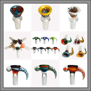 glass bowls American Color Rod 14mm 14.4mm male joint Hookah bowls Colorful Bowl Smoking Accessories For Oil Rigs glass bong water pipe