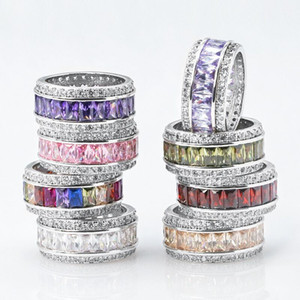 Out Hiphop silver-plated zircon ring color full diamond men and women gemstone hip hop fashion ring tail ring
