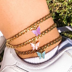 Acrylic Butterfly Anklet Bracelets Wide Link Chain Bracelet Ankle Chain Cute Charms AnkletCrystal Pendant Boho Beach Accessories