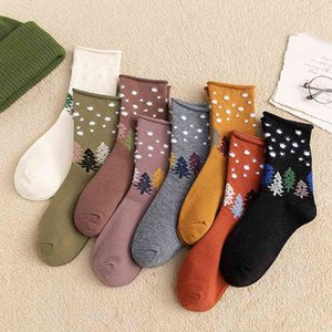 Socks children autumn and winter new products cartoon christmas tree women's middle tube crimped feather yarn versatile casual socks
