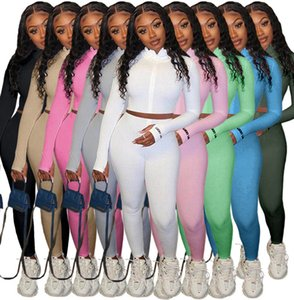 Women Tracksuits Two Pieces Set Solid Colour High Collar Embroidered Letter Zipper Sports Outfits Ladies Sportwear New Fashion 2021