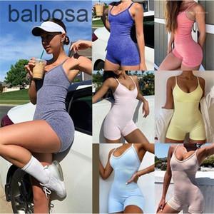 Yoga Tuch 2021 New Sport Womens Designer Jumpsuits Solid Color Sommer Womens Skisney Strampler Mode Lässige Frauen