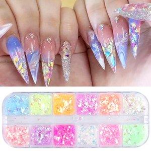 Nail Glitter 3D Fluorescent Flakes Set Holographic Powder Sequins Paillette Manicure Art Pigment Decoration Tools GLSP