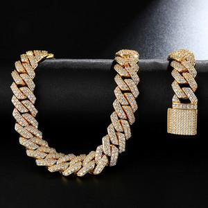 20mm Diamond Miami Prong Cuban Choker Collana Bracciali Bracciali 14k oro bianco ghiacciato Icy Cubic Zirconia gioielli 7inch-24inch Catena cubana 68 U2
