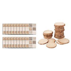Wall Stickers 18 Pcs Self Adhesive Mosaic Tile Sticker & 40 3-4CM Unfinished Natural Round Wood Slices