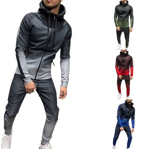 Mens Zipper Tracksuits Sets Sport 2 Pieces Sweatsuit Male Clothes Printed Hooded Hoodies Jacket Pants Track Suits