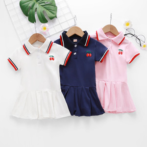 Kids Girl Lace Lapel Collar Embroidery Cherry Short Sleeve Dress Kids Elegant Summer Baby Girl Designer Clothes Girls Princess Dress Pink
