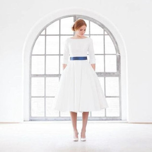 Simple Vintage 1960s Tea Length Wedding Dress with Sleeves Vintage Short Satin Bridal Gowns with Half Sleeves