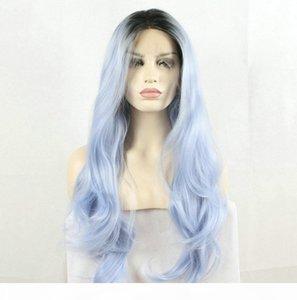 Fantasy Beauty Fantasy Beauty The Dark Coot Ombre Pastel Blue Теплостойкие Волоконные Волосы Длинные Волна Природа Волна Легкий Синий Синтетические Кружева Передние Парики
