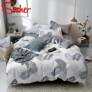 Set Pillowcase Sisher with Simple Duvet Cover Bedding Sets Bed Linen Sheet Single Double Queen King Size Quilt Covers Bedclothes