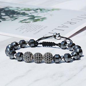 Beaded, Strands Nice Luxury Copper CZ Beads Ball Men Bracelet Bangle Hematite Macrame Bracelets&Bangles For Jewelry