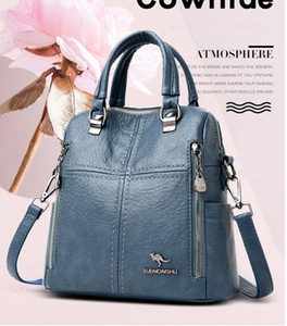 HBP New High Quality Leather Backpack Women Shoulder Bags Multifunction Travel Backpack School Bags for Girls Bagpack mochila