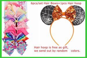 On Sale!6pcs set Ins Girls Hair Clips Lolita Large Bows Birthday Gifts with 1pcs hoop as free gift
