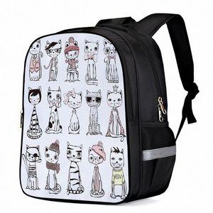Cat Hipster Animal Dibujos animados Portátil Mochilas Mochilas Escuela Bolsa Bolsa de libro Bolsa de deportes Botella Bolsillos laterales H96B #