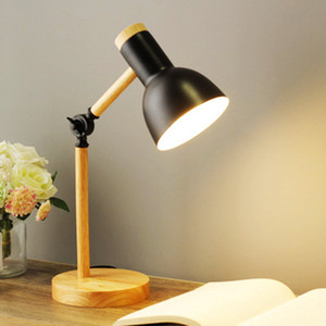 Creative Nordic Wooden Art Iron LED Folding Simple Desk Lamp Eye Protection Reading Table Lamp Living Room Bedroom Home Decor