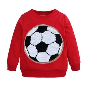 2021 New Discoloration Football Sequins Kids Sweatshirt Active Cotton Long Sleeve Tops Spring Autumn Children Boy Clothes 2-7 Years J15h
