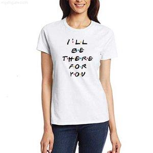 Lá camiseta amigos ser v-pescoço para você carta impressão lunoakvo camisa doente camiseta top das mulheres de manga curta