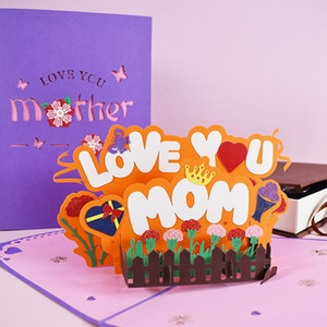 Mothers Day 3D Greeting Card Pop-Up Love U Mom Greeting Card for Birthday Mothers New Creative Mother Greeting Card DHA3706