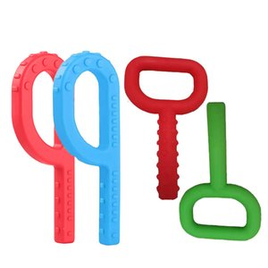 Silicone Key Shape Teethers Chewing Tube Smooth Textured Teething Toy FDA Safe Silicone Boys Girls Chew Tools Autism Special Needs 305 Y2