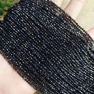 Stone Beads Small Section Bead Black Spinels 2mm 3mm Glass Loose Beads for Jewelry Making DIY Bracelet Necklace Accessories Length 37cm