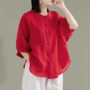 Women's Blouses & Shirts 2021 Summer Cotton Linen Shirt Lantern Sleeve Literature Top Loose Medium Large Thin
