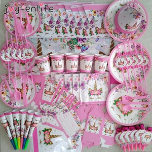 81pcs set Unicorn Party Supplies Pink Rainbow Unicorn Banner Plates Cups Napkins Straws Baby Shower Kids Birthday Decorations Y201006